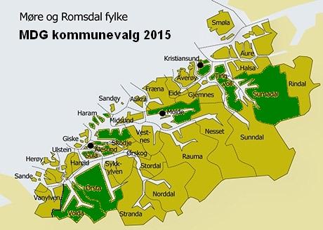 Kart over MDG-kommuner 2015
